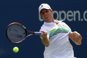 Sam Querrey of the United States returns a shot against Stanislas Wawrinka of Switzerland during his men's singles fourth round match on day nine of the 2010 U.S. Open at the USTA Billie Jean King National Tennis Center on September 7, 2010 in the Flushing neighborhood of the Queens borough of New York City. Getty Images / Nick Laham ...........